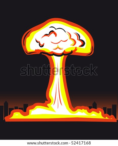Nuclear explosion in big city - stock vector