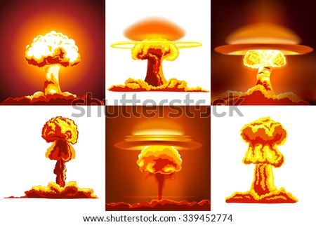 Nuclear explosions set. Six different kinds of explosions - stock vector