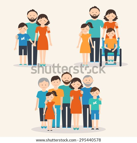 Nuclear Family, Family with Special Needs Child and Extended Family. Families of Different Types - stock vector