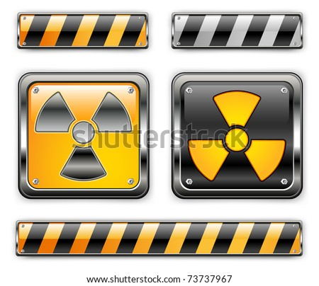 nuclear icon, carefully dangerously, radioactive waste, sign of pollution environment, vector illustration