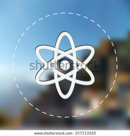 Nuclear icon. Vector illustration. Blurred background. - stock vector