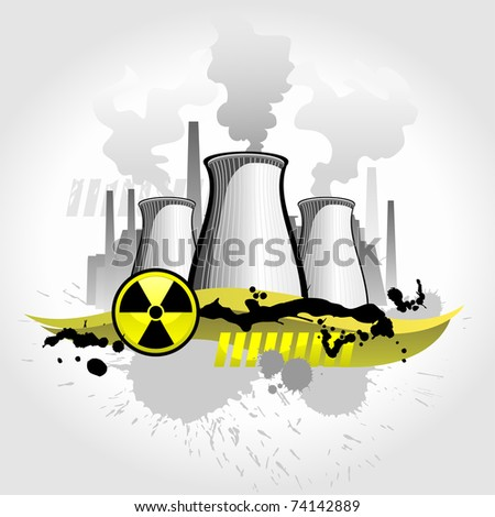Nuclear plant abstract background - stock vector