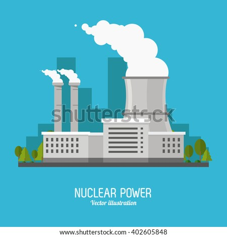 nuclear plant in colorful design, vector illustration - stock vector