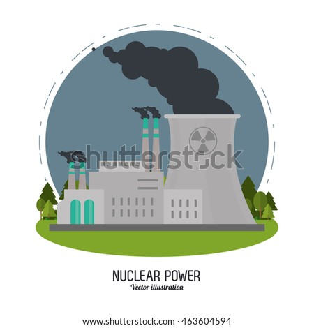 Nuclear plant power biohazard smoke industry building chimney icon. Flat and Colorfull illustration. Vector graphic