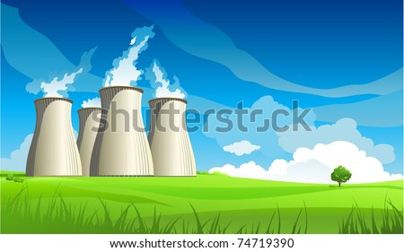 Nuclear plant station and lonely tree - stock vector