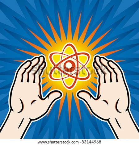 Nuclear power concept, use of atomic energy, EPS 8, CMYK. - stock vector