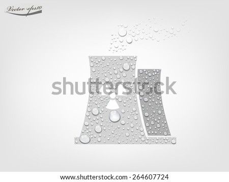 nuclear power plant from transparent water drop vector - stock vector