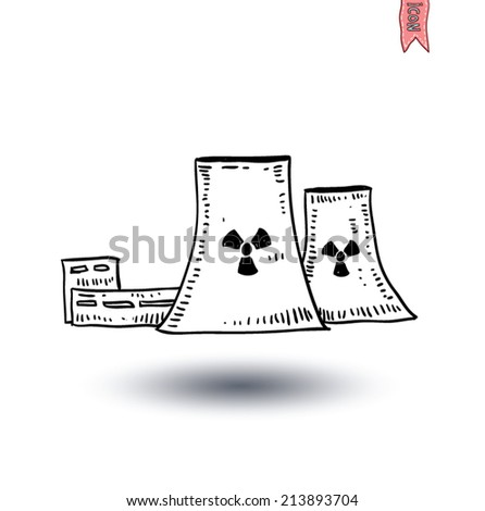 nuclear power plant icon - vector illustration - stock vector