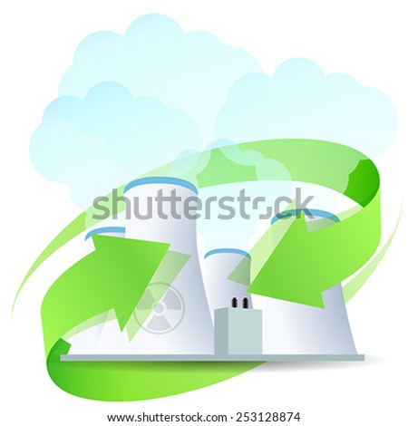 Nuclear Power Plant Icon with Arrows - stock vector