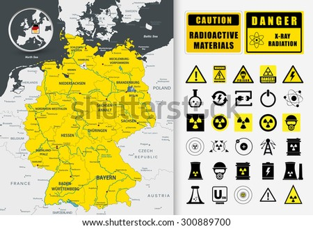 Nuclear power plant map of Germany. Nuclear Power technology icons and radioactive contamination signs/Nuclear power plant map of Germany - stock vector