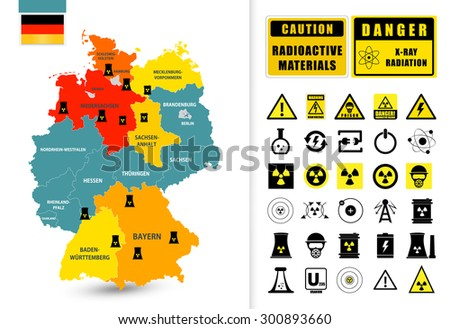 Nuclear power plant map of Germany. Nuclear Power technology icons and radioactive contamination signs/Map of Germany with nuclear power plants - stock vector