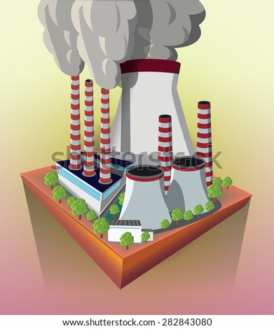 Nuclear power plant on the flying island vector image.  - stock vector