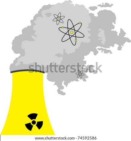 Nuclear power station on white background, vector - stock vector