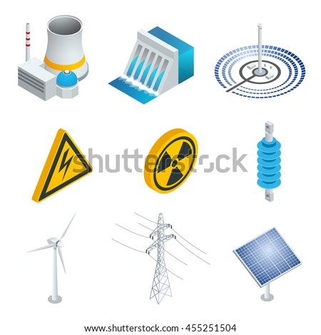 Nuclear power station, Solar power station, Wind turbine, solar panel, hydroelectric power station. 3d flat isometric set. Vector illustration of industrial icons. - stock vector