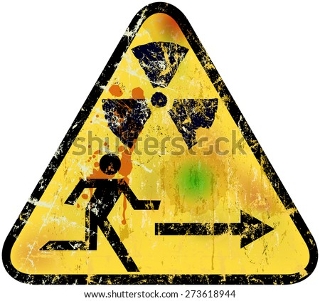 nuclear radiation emergency exit sign, vector illustration - stock vector