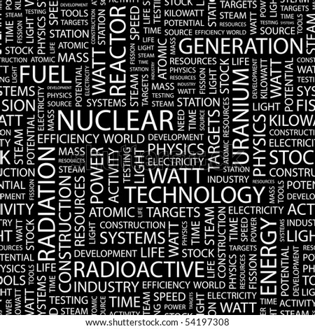 NUCLEAR. Seamless vector pattern with word cloud.