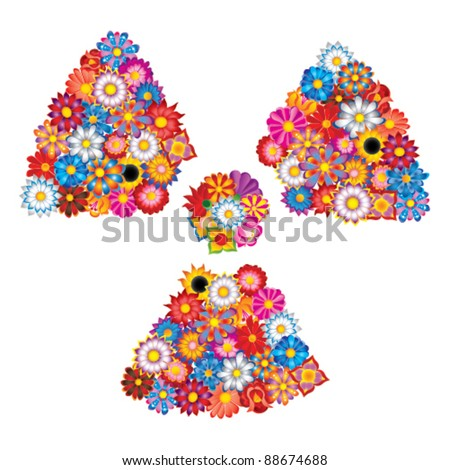 nuclear sign from flowers - stock vector