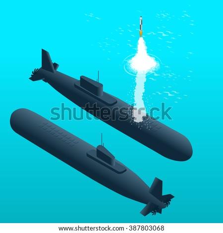 Nuclear submarine, Nuclear submarine traveling underwater, Nuclear powered submarines, Nuclear submarine Flat, Nuclear submarine 3d, Nuclear submarine isometric vector illustration, Nuclear submarine - stock vector
