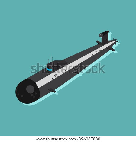 Nuclear submarine traveling underwater. Flat  isometric vector illustration - stock vector