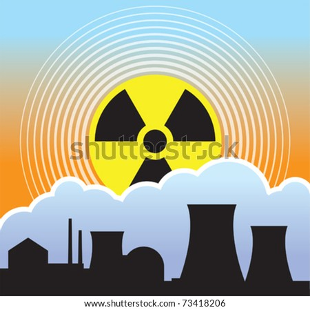 Nuclear sunset, radiation leaks - stock vector