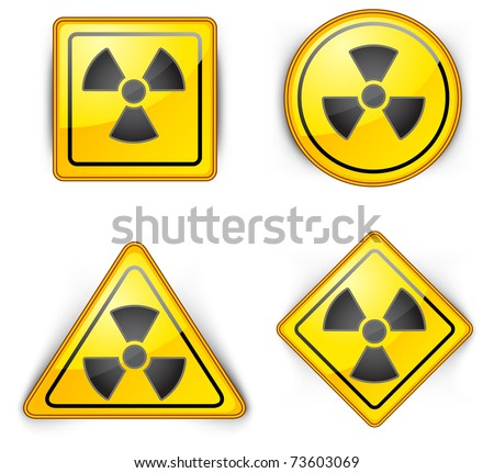 nuclear symbol, carefully dangerously, radioactive waste, sign of pollution environment, vector illustration - stock vector