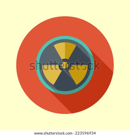 Nuclear symbol icon. Long shadow flat design. Vector illustration. - stock vector
