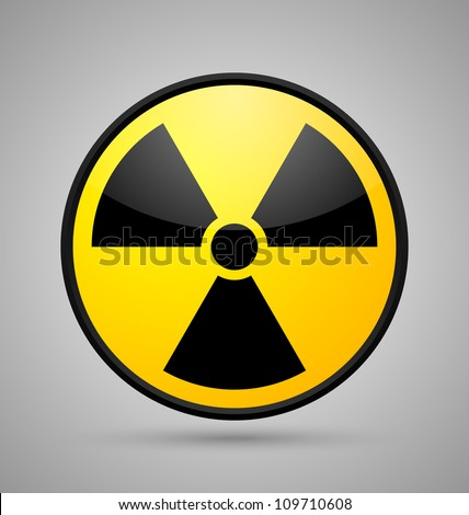 Nuclear symbol isolated on grey background - stock vector