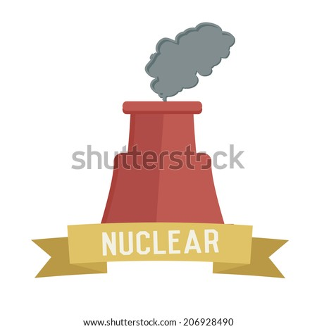 Nuclear symbol on white background,Retro colour concept,clean vector  - stock vector