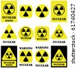 Nuclear vector set isolated on white - stock photo