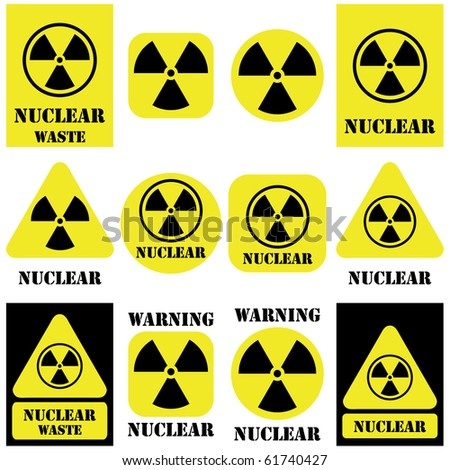 Nuclear vector set isolated on white - stock vector