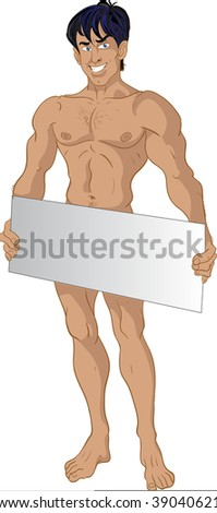 nude brunette boy with text area - stock vector