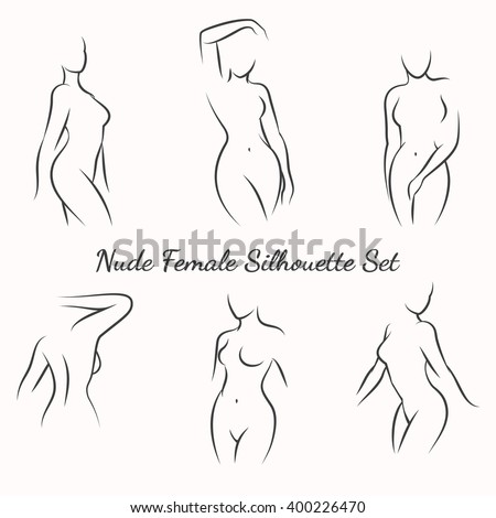 Nude female silhouette woman health logo and woman body care emblem. Vector illustration - stock vector