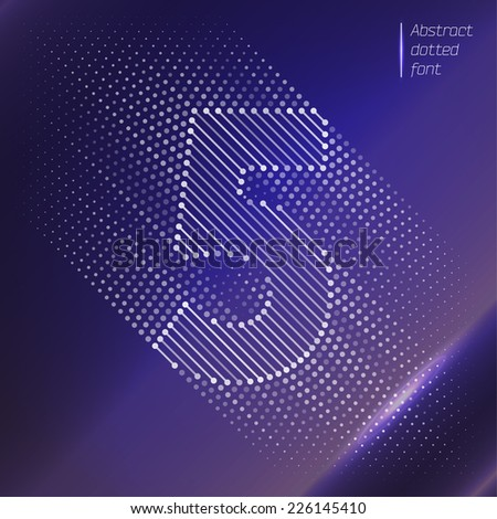 Number 5 - Abstract optical illusion on space background  - stock vector