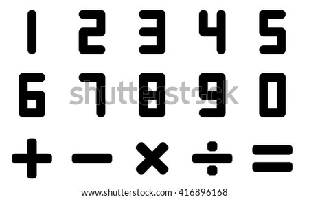 Number and math symbol in black color - stock vector