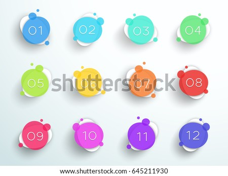 Number Bullet Point Abstract Colorful Circles 1 to 12 Vector