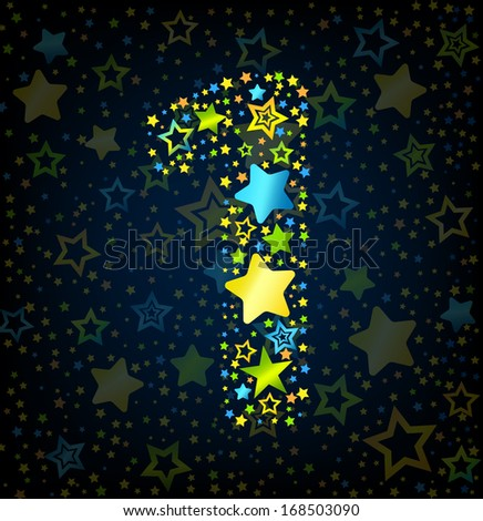 Number 1 cartoon kid style vector font with  colored  stars - stock vector