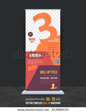 Number 3 Concept Business Roll-Up Banner Design, Vertical Advertising Vector Template - stock vector