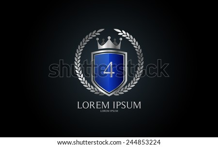 Number 4 crest logo. Vector logotype design. - stock vector