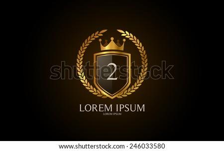 Number 2 crest logo. Vector logotype design. - stock vector