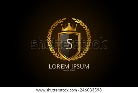 Number 5 crest logo. Vector logotype design. - stock vector