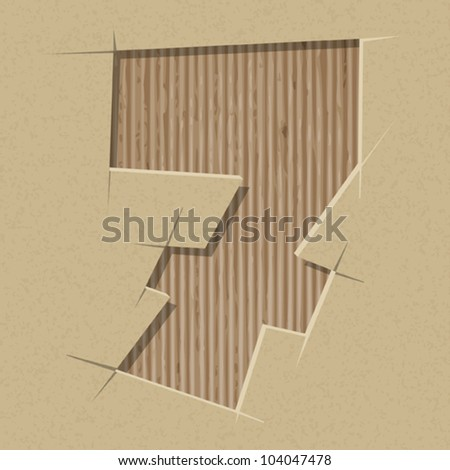 Number 7 cut out on a cardboard. Vector paper alphabet - stock vector