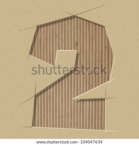 Number 2 cut out on a cardboard. Vector paper alphabet - stock vector