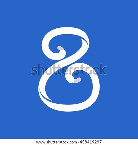 Number eight logo formed by shoe lace. Sport style vector for sportswear, club identity, labels or posters.