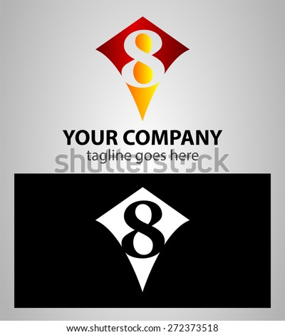 number eight 8 logo icon design template elements  - stock vector