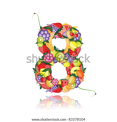 Number eight made from fruits. See others in my gallery - stock vector