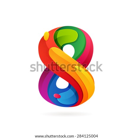 Number eight volume logo, vector design template elements - stock vector