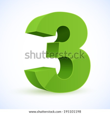 Number 3. Eps 10. - stock vector