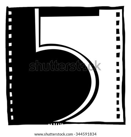 Number five as abstract woodcut style pattern. Vector design element illustration - stock vector
