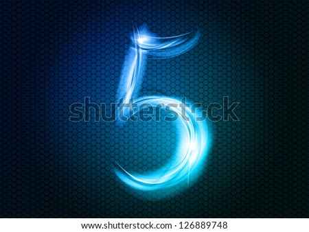 Number FIVE from the big abstract numerical series. - stock vector