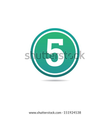 Number Five Icon - stock vector